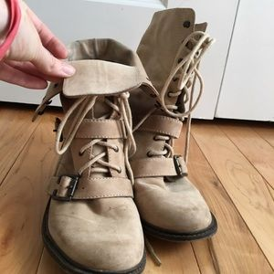 Trouve Tan Military Booties - Size 8